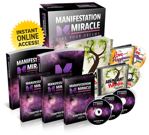 manifestation miracle based ont he law of attraction written by heather matthews products showing books, cds and bonus materials