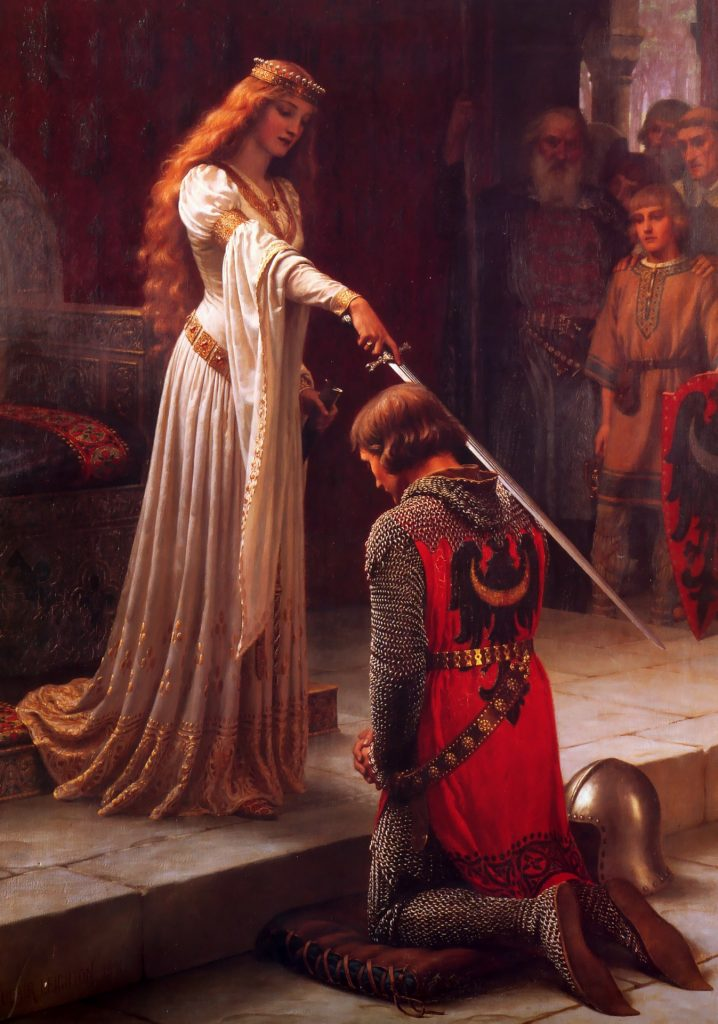 a damsel placing her knight's sword over his shoulder in a knighting ceremony to represent the idealistic notion of the knight in shining armor