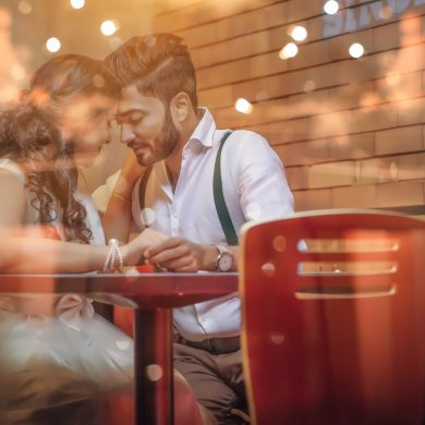 couple having dinner because they found each other unexpectedly