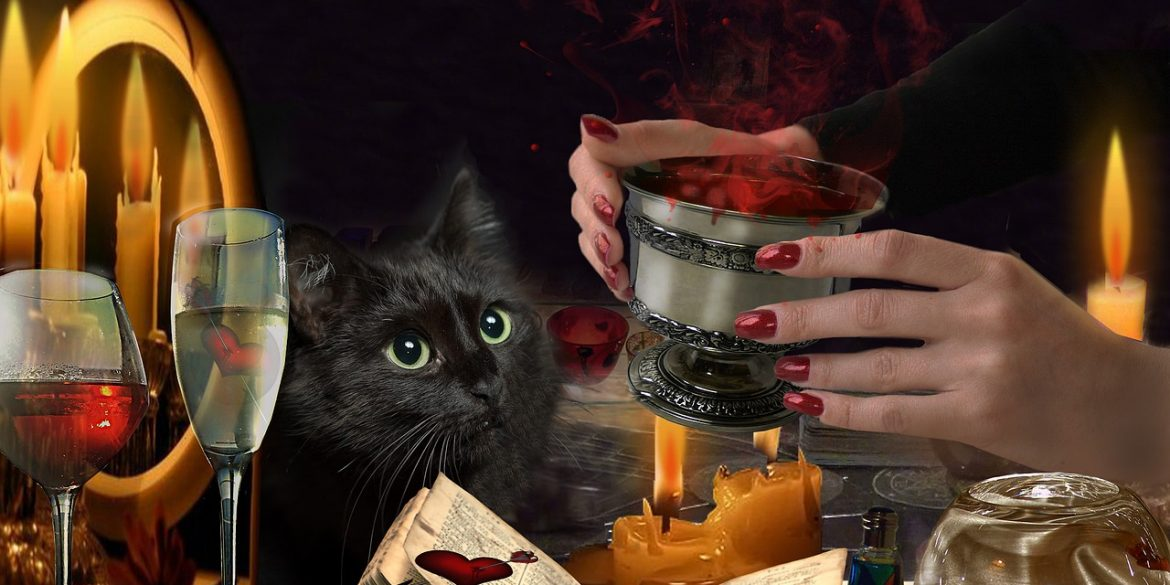 woman with a goblet making a potion for a true love spell