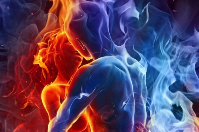 two people entangled in energy as twin flames or soulmates