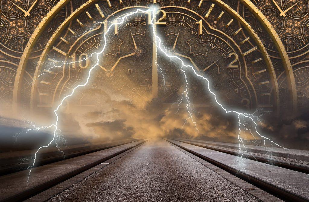 a time portal of a clock and lightning representing moving on from the past