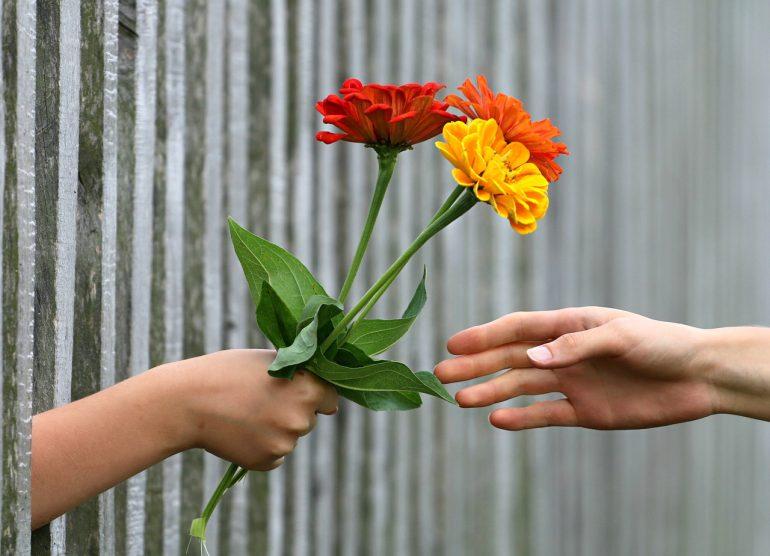 nice woman giving flowers to her neighbor